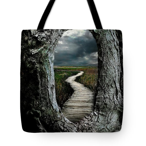 Through The Knot Hole Tote Bag by Rick Mosher
