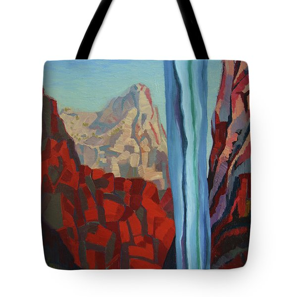 Tote Bag featuring the painting Through The Narrows, Zion by Erin Fickert-Rowland