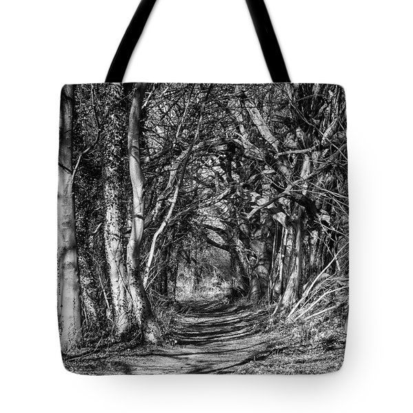 Through The Tunnel Bw 16x20 Tote Bag