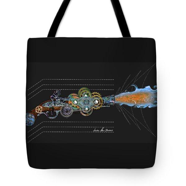 Tote Bag featuring the digital art Thunder Gun by Iowan Stone-Flowers
