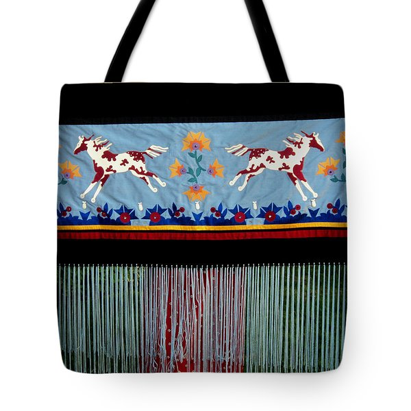Tote Bag featuring the tapestry - textile Thunder Pony by Chholing Taha