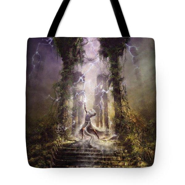 Tote Bag featuring the digital art Thunderstorm Wizard by Uwe Jarling