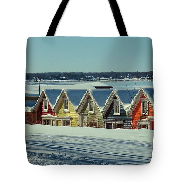 Winter View Ti Park Boathouses Tote Bag