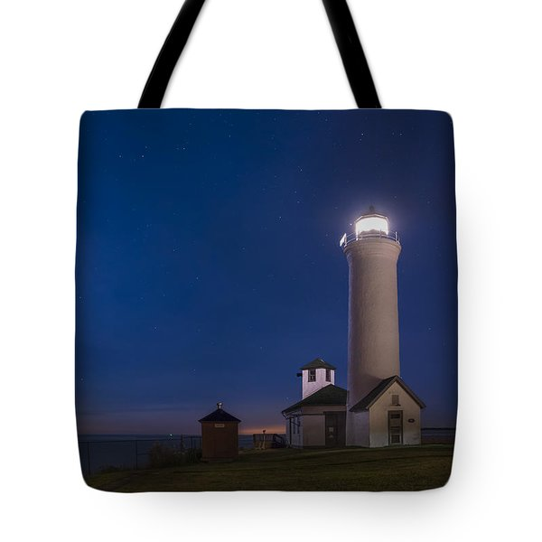 Tote Bag featuring the photograph Tibbets Point Light Night by Mark Papke