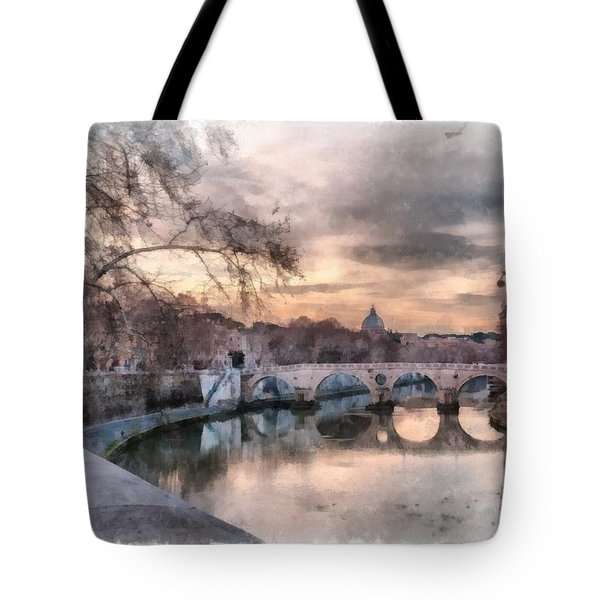 Tote Bag featuring the photograph Tiber - Aquarelle by Sergey Simanovsky