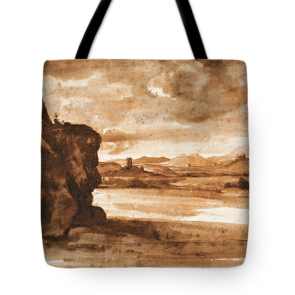 Tiber Landscape North Of Rome With Dark Cloudy Sky Tote Bag