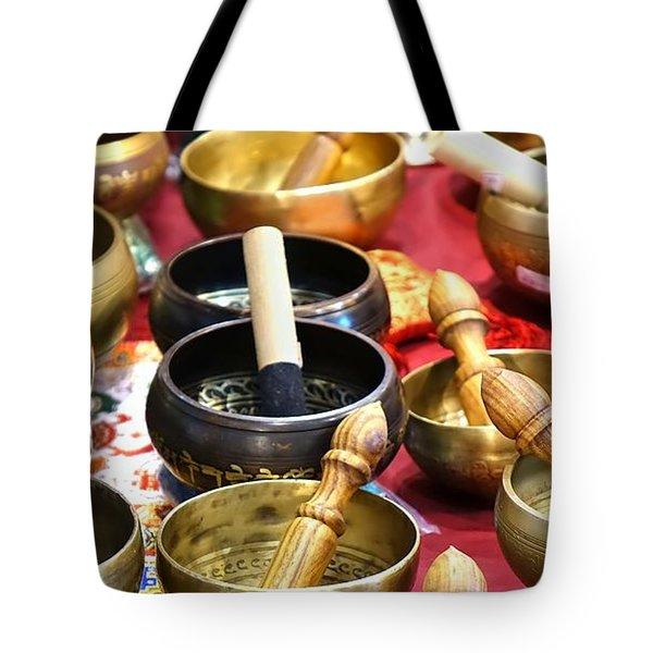 Tibetan Bronze Singing Bowls Tote Bag