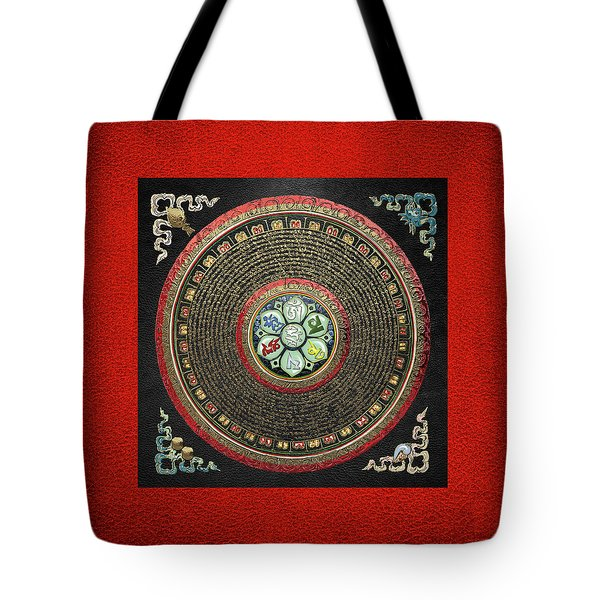 Tibetan Om Mantra Mandala In Gold On Black And Red Tote Bag