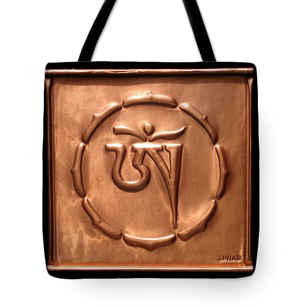 Tote Bag featuring the relief Tibetan Om by Suhas Tavkar