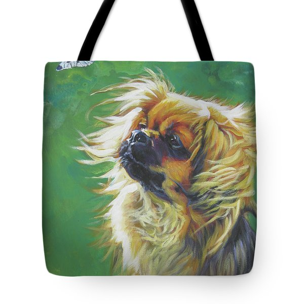 Tibetan Spaniel And Cabbage White Butterfly Tote Bag by Lee Ann Shepard