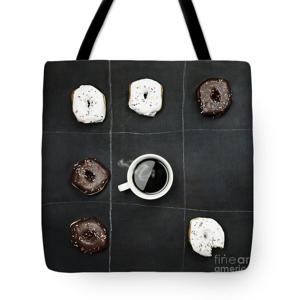 Tic Tac Toe Donuts And Coffee Tote Bag