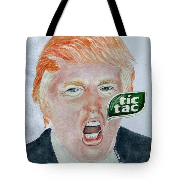 Tote Bag featuring the painting Tic Tac Trump by Edwin Alverio