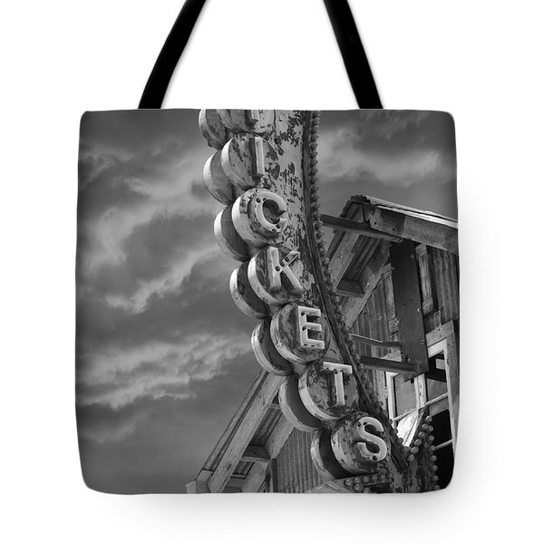 Tote Bag featuring the photograph Tickets Bw by Laura Fasulo