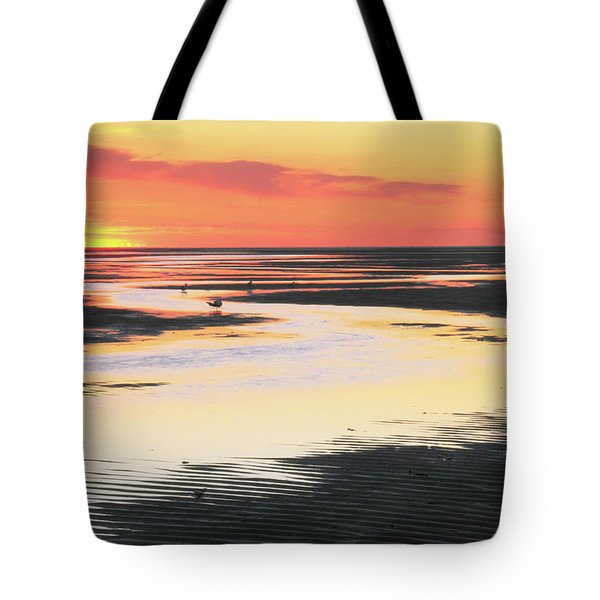 Tidal Flats At Sunset Tote Bag