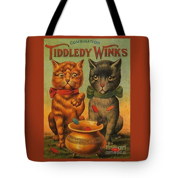 Tiddledy Winks Funny Victorian Cats Tote Bag by Peter Gumaer Ogden Collection