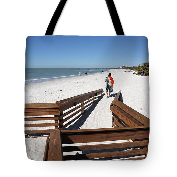 Tide Of Sand Over A Ramp On The Beach In Naples Florida Tote Bag