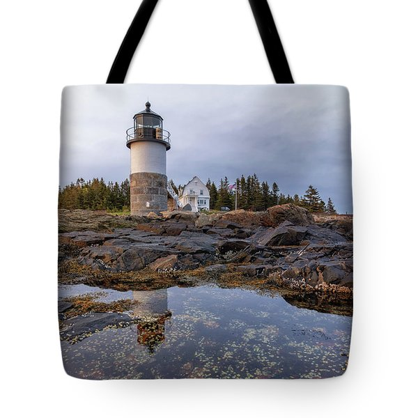Tide Pools At Marshall Point Lighthouse Tote Bag