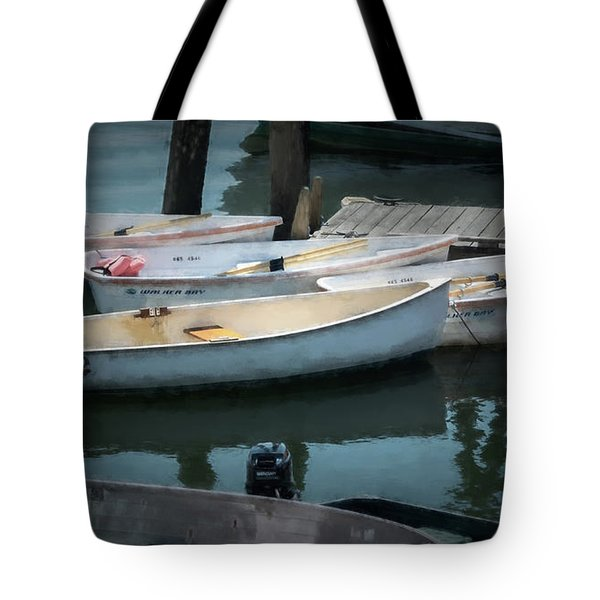 Tote Bag featuring the photograph Tied To The Pier by Guy Whiteley