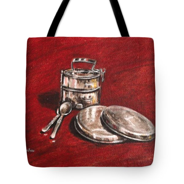 Tiffin Carrier - Still Life Tote Bag by Usha Shantharam