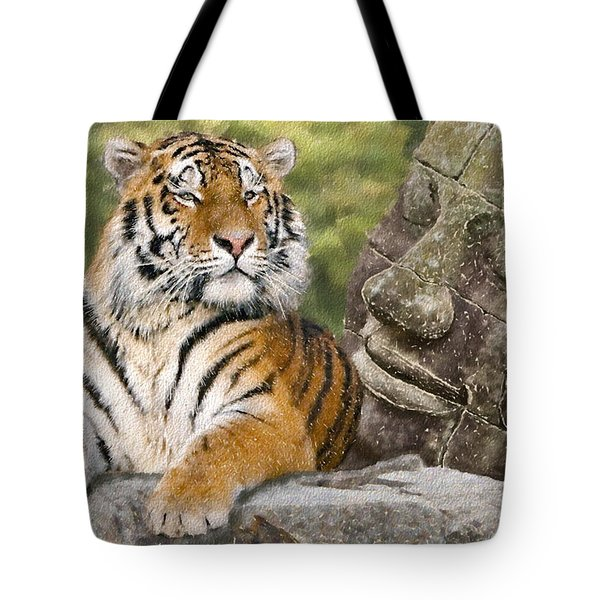 Tiger And Buddha Tote Bag