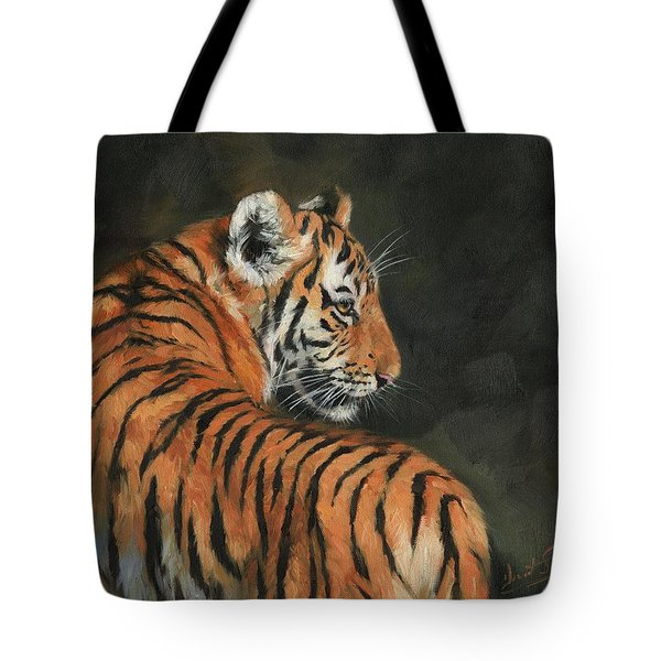 Tote Bag featuring the painting Tiger At Night by David Stribbling