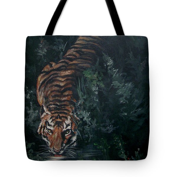 Tote Bag featuring the painting Tiger by Bryan Bustard
