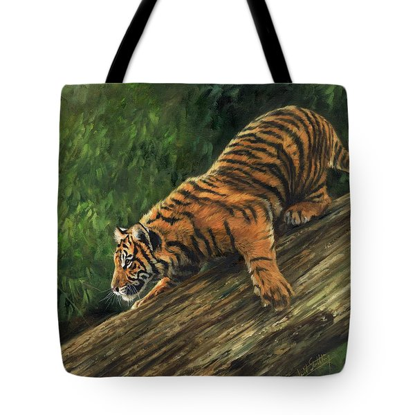 Tote Bag featuring the painting Tiger Descending Tree by David Stribbling