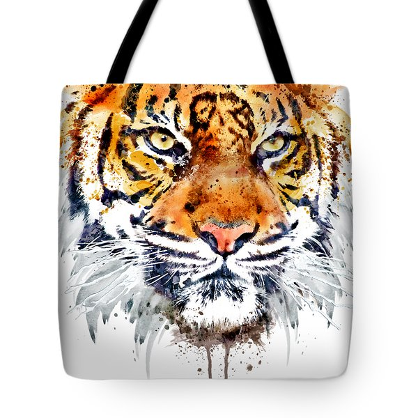 Tote Bag featuring the mixed media Tiger Face Close-up by Marian Voicu