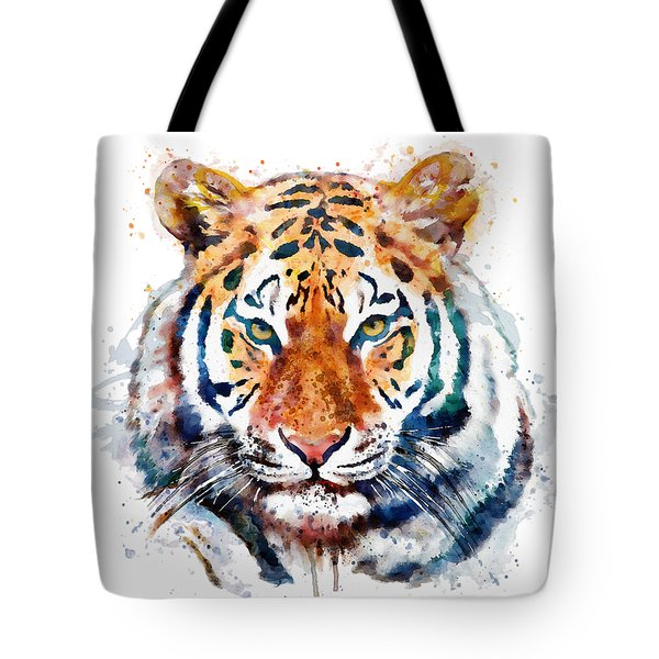 Tiger Head Watercolor Tote Bag by Marian Voicu