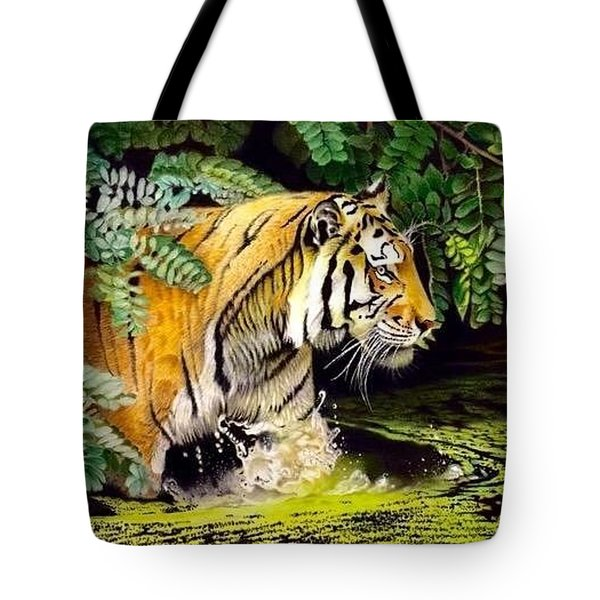 Tiger In The Dundurban Delta Tote Bag