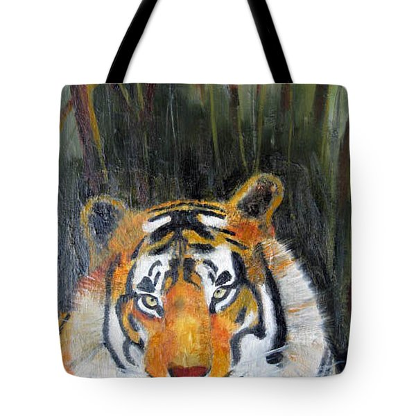 Tote Bag featuring the painting Tiger by Jack G  Brauer