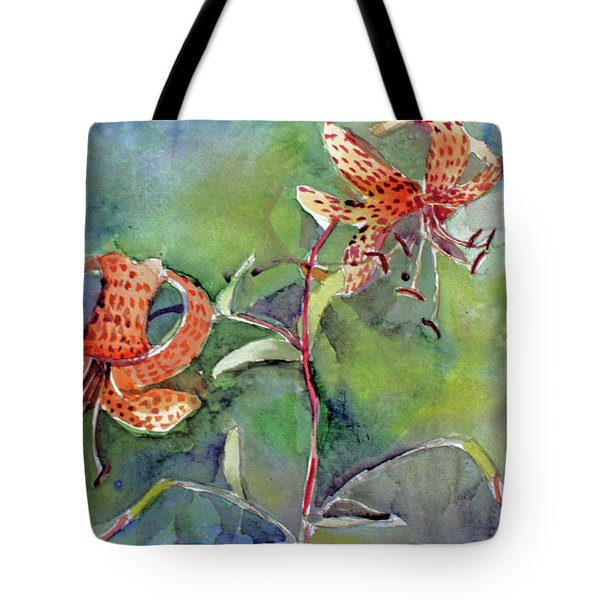 Tote Bag featuring the painting Tiger Lilies by Mindy Newman