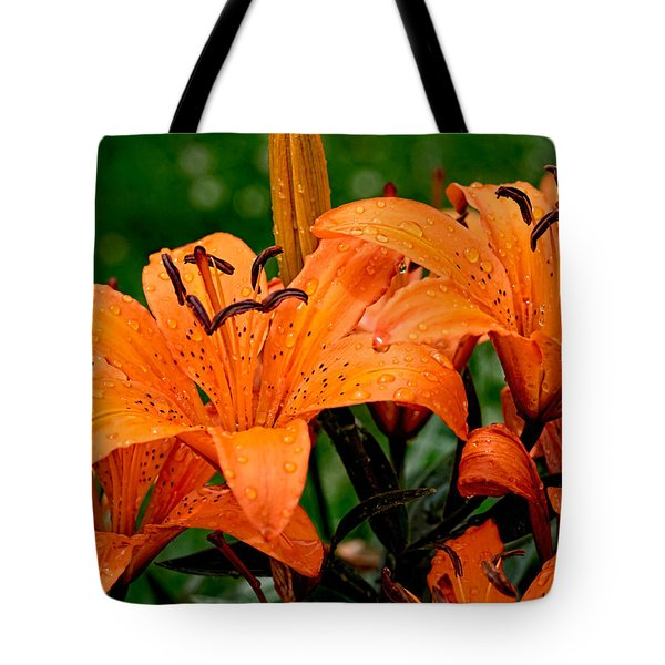 Tiger Lilies With Spring Shower Tote Bag