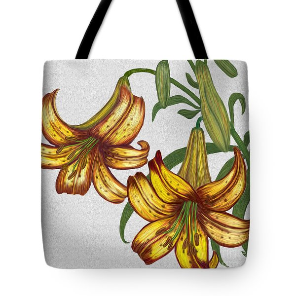Tote Bag featuring the digital art Tiger Lily Blossom  by Walter Colvin