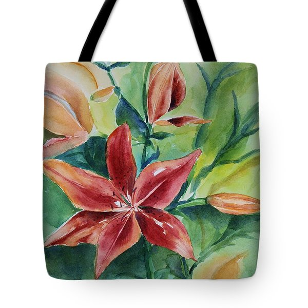 Tote Bag featuring the painting Tiger Lily Still Life In Watercolor by Geeta Biswas