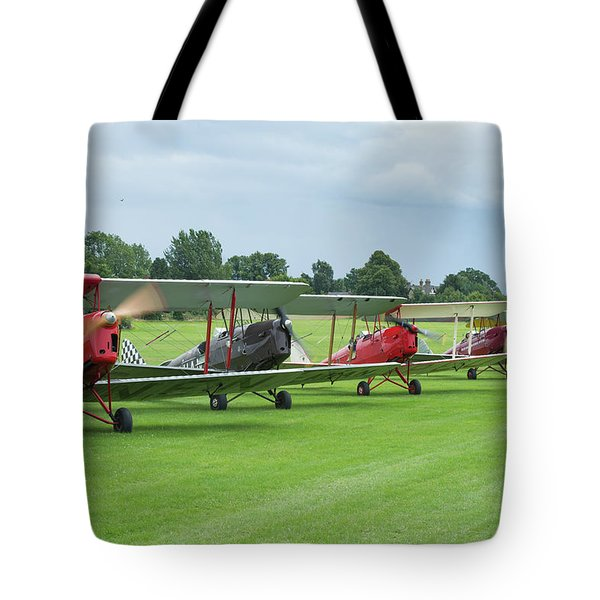 Tote Bag featuring the photograph Tiger Moths Formation Shutdown by Gary Eason