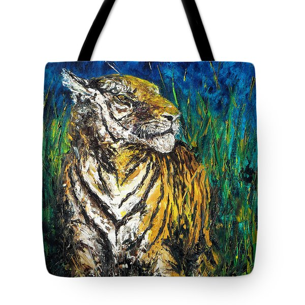 Tiger Night Hunt Tote Bag by Shirley Heyn