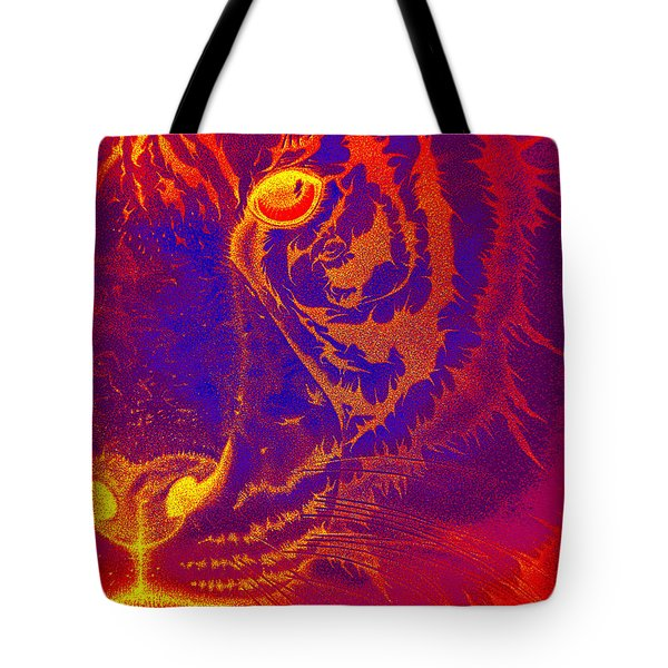 Tiger On Fire Tote Bag