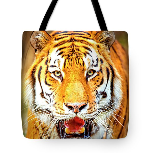 Tiger On The Hunt Tote Bag
