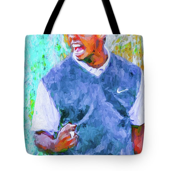 Tote Bag featuring the photograph Tiger One Two Three Painting Digital Golfer by David Haskett