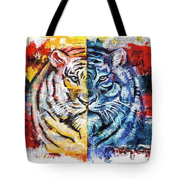 Tote Bag featuring the painting Tiger, Original Acrylic Painting by Ariadna De Raadt
