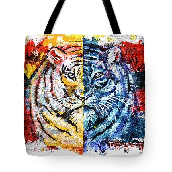 Tiger, Original Acrylic Painting Tote Bag