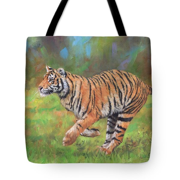 Tote Bag featuring the painting Tiger Running by David Stribbling