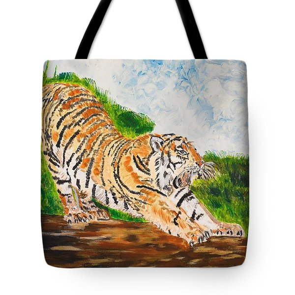 Tiger Stretching Tote Bag by Valerie Ornstein
