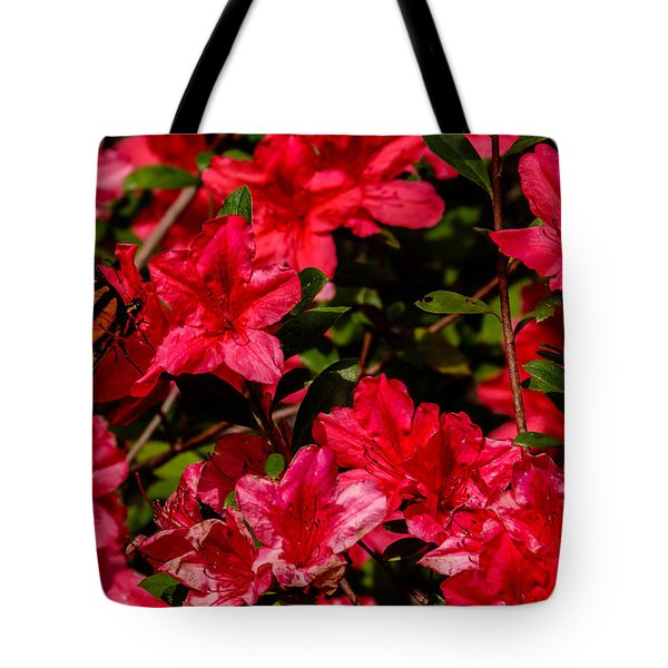 Tiger Swallowtail On A Red Azalea Tote Bag