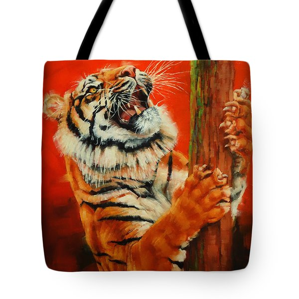 Tiger Tiger Burning Bright Tote Bag by Margaret Stockdale