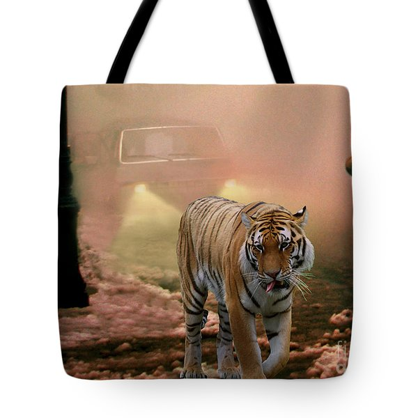 Tiger Walking Down A Snow Slushy Street Tote Bag