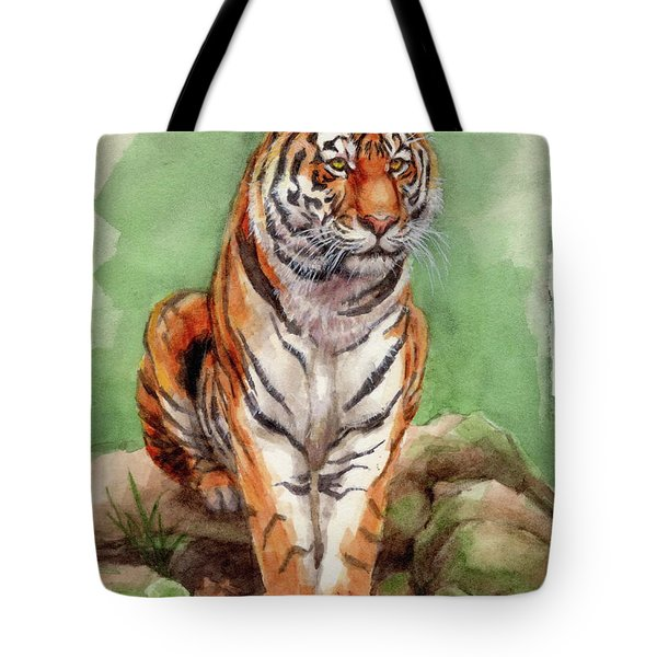 Tiger Watercolor Sketch Tote Bag by Margaret Stockdale