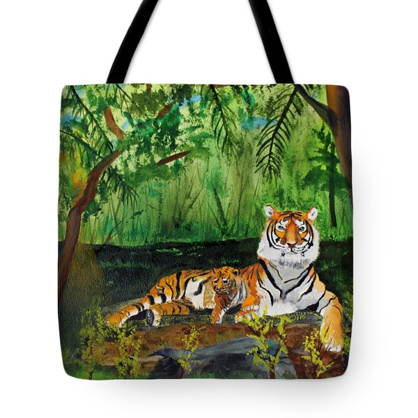 Tiger With Cub Tote Bag by Jack G  Brauer