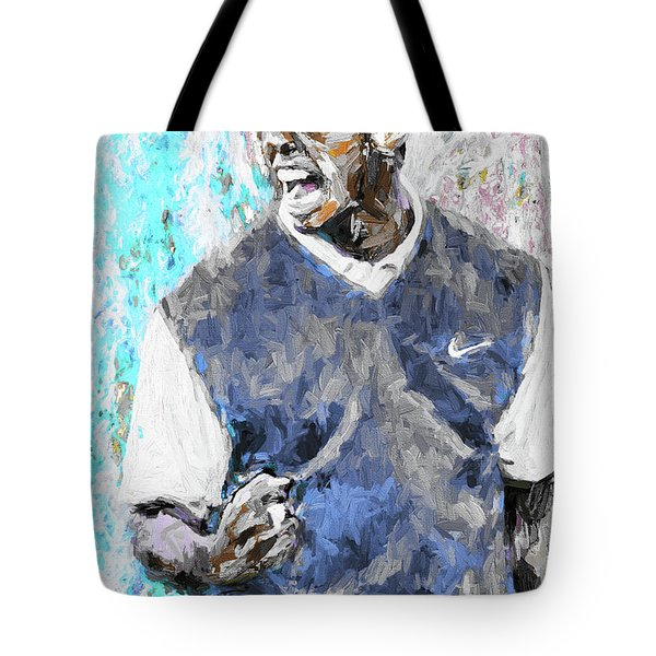 Tiger Woods One Blue Golfer Digital Art Tote Bag